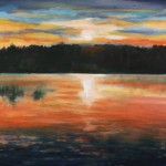Sunset at the Lake, 2015, Oil, 18 x 24